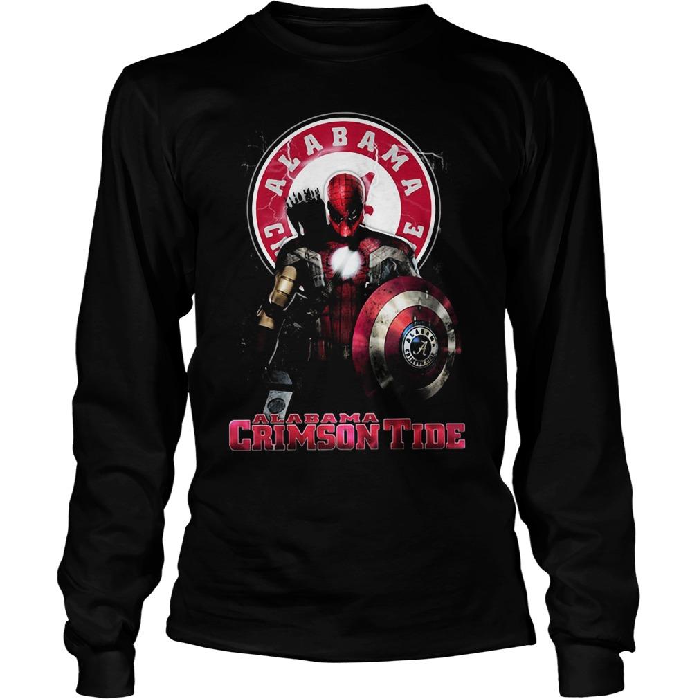 Captain Deadpool Spiderman Alabama Crimson tide Longsleeve Tee