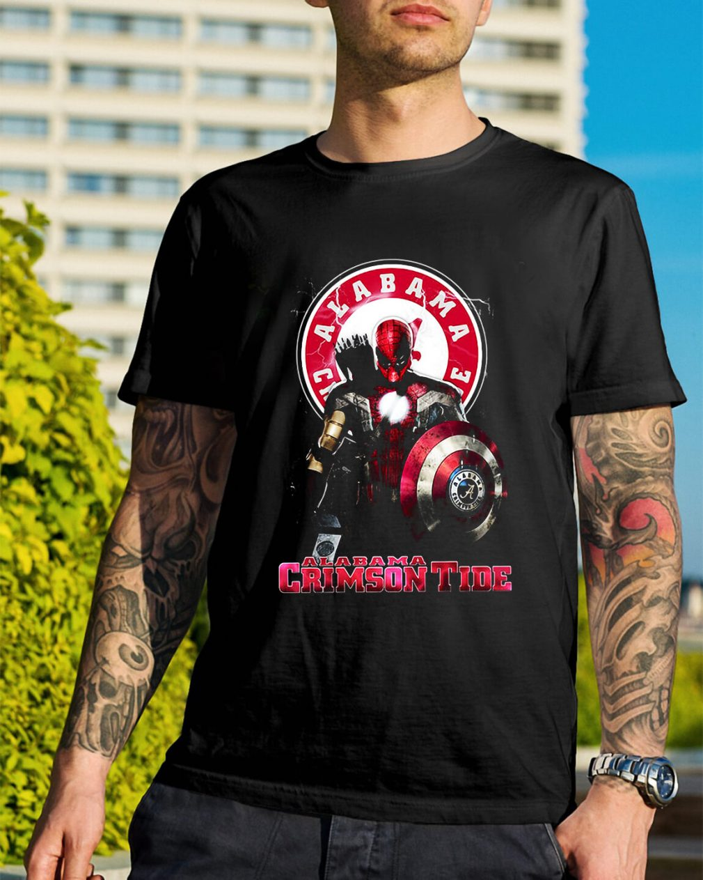 Captain Deadpool Spiderman Alabama Crimson tide shirt