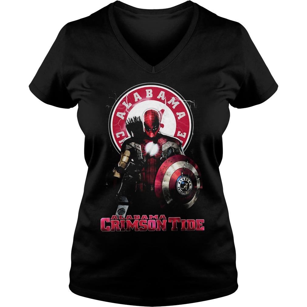 Captain Deadpool Spiderman Alabama Crimson tide V-neck T-shirt