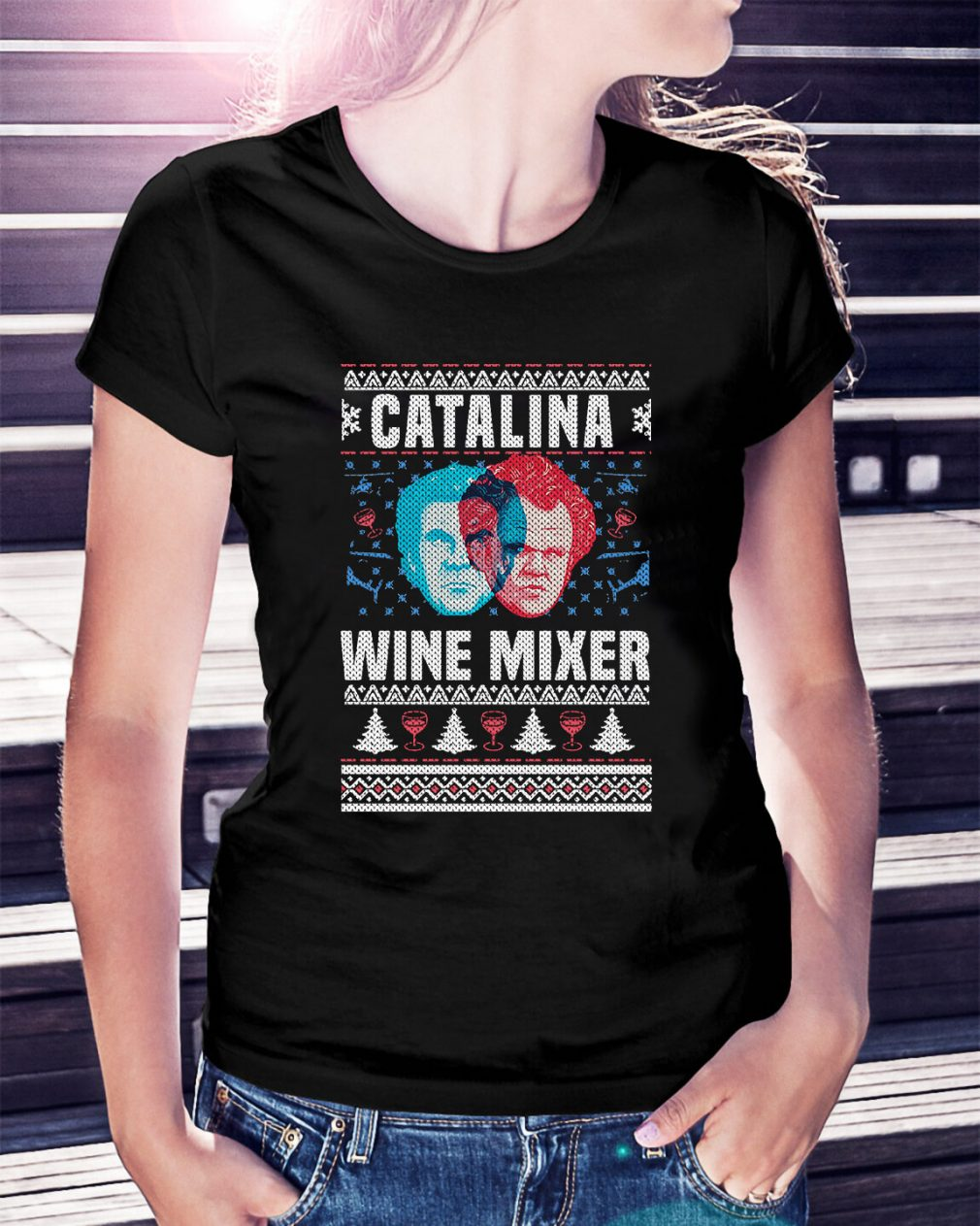Catalina wine mixer knitting pattern 3D all over print Ladies Tee