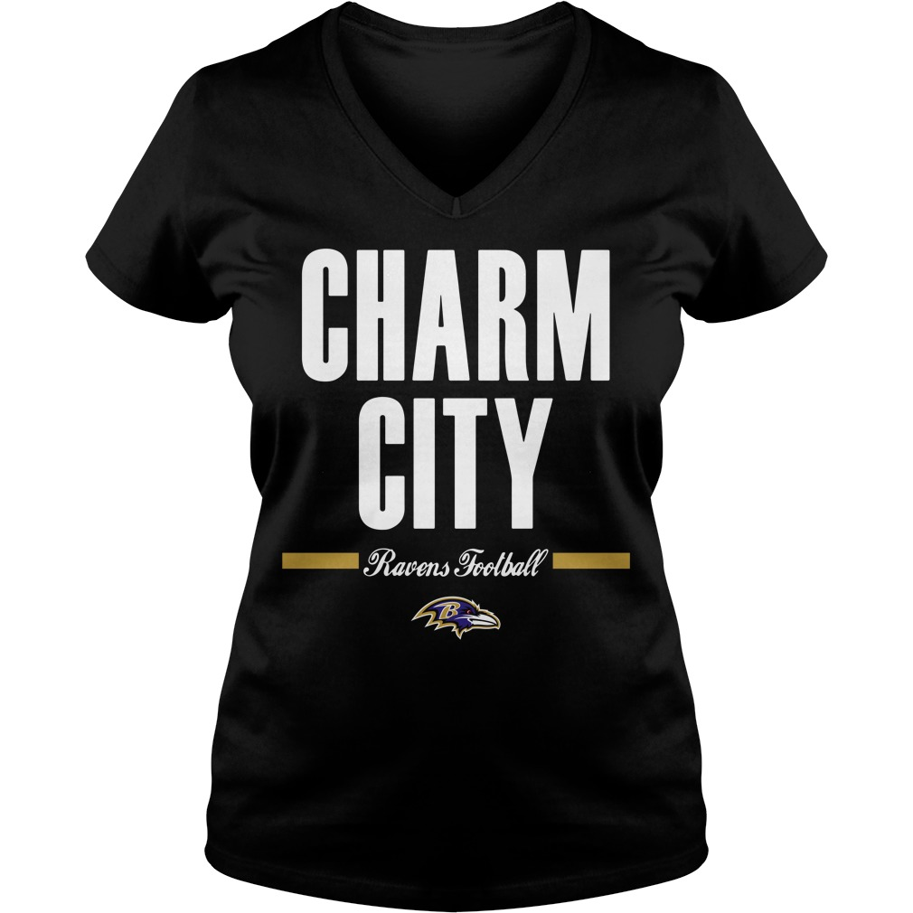 Charm city Ravens football V-neck T-shirt