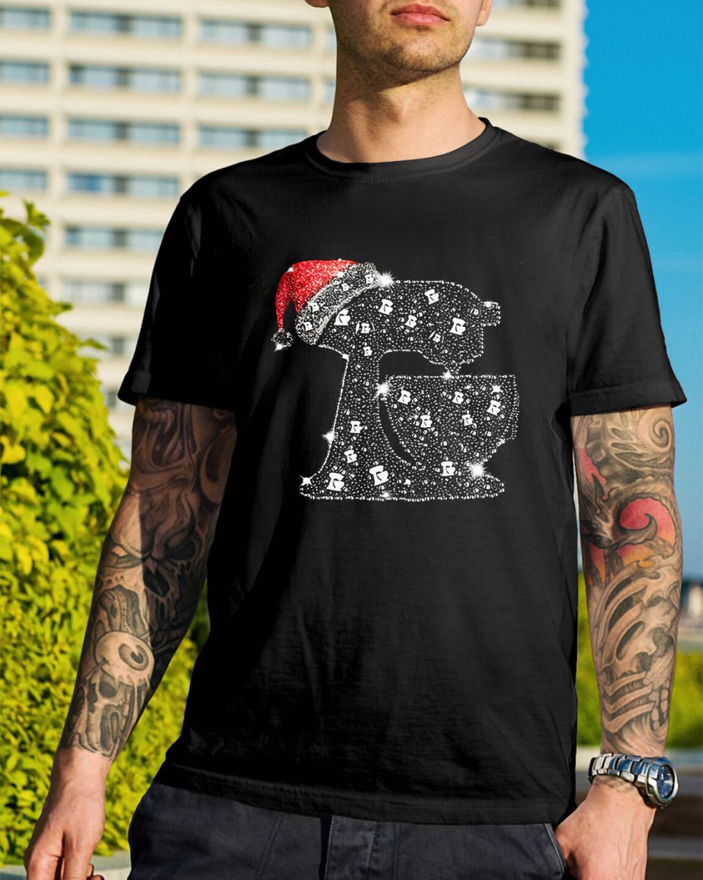 Christmas baking diamond bling Santa hat Guys Shirt
