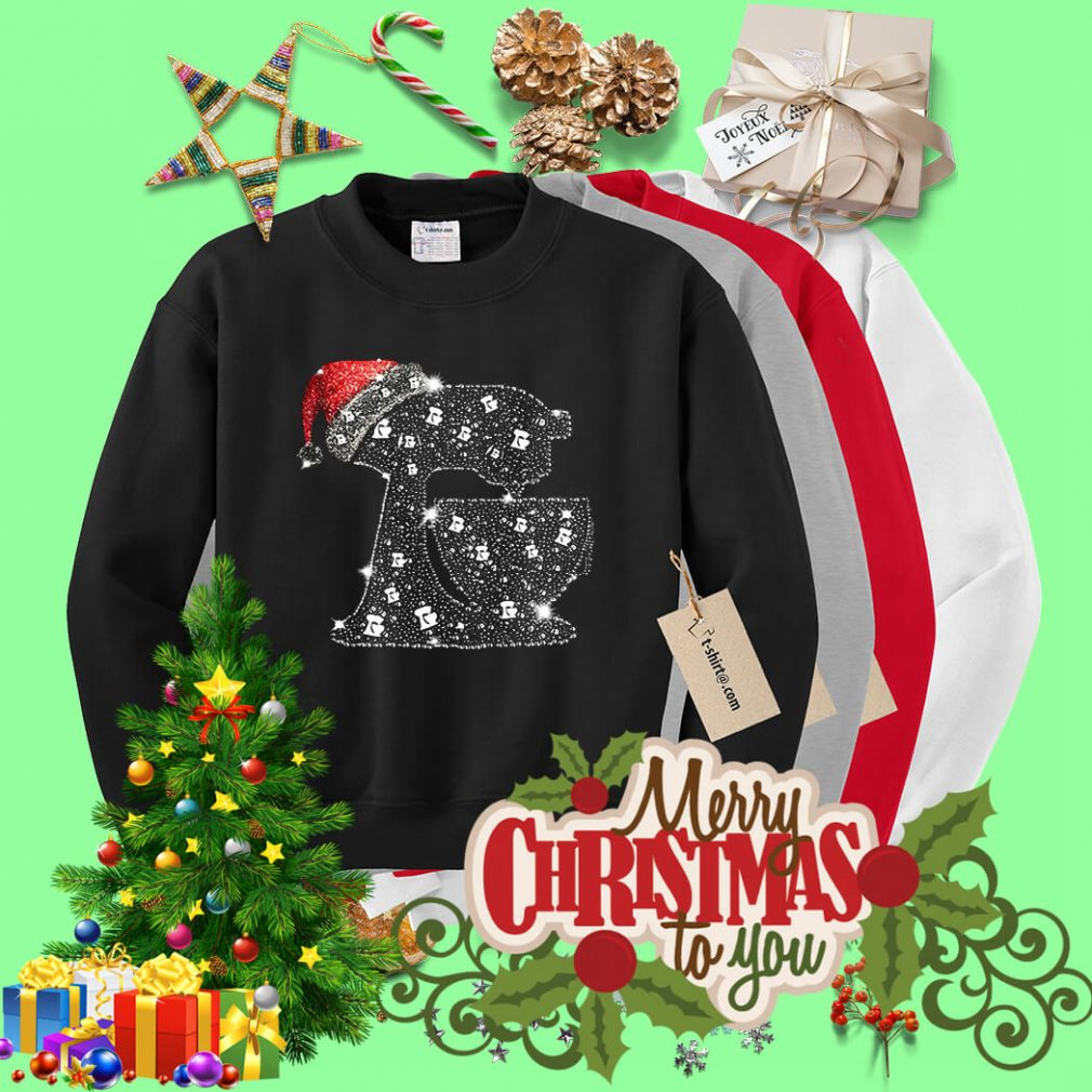 Christmas baking diamond bling Santa hat shirt, sweater