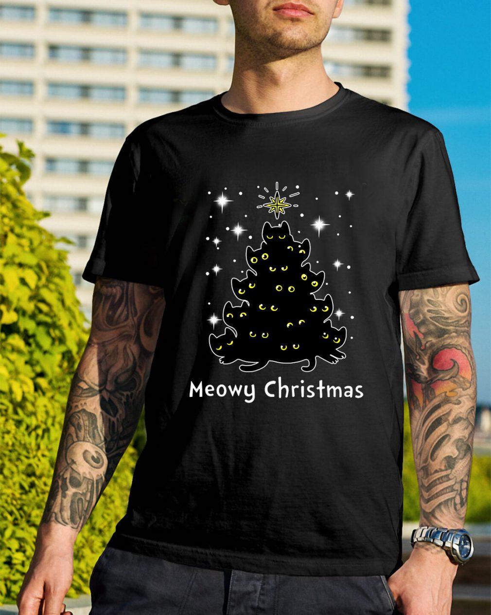 Christmas Black cat Meowy Christmas tree Guys Shirt