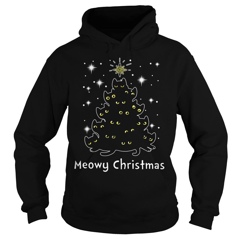 Christmas Black cat Meowy Christmas tree Hoodie