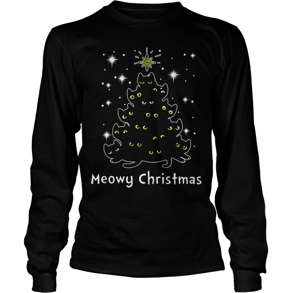 Christmas Black cat Meowy Christmas tree Longsleeve Tee
