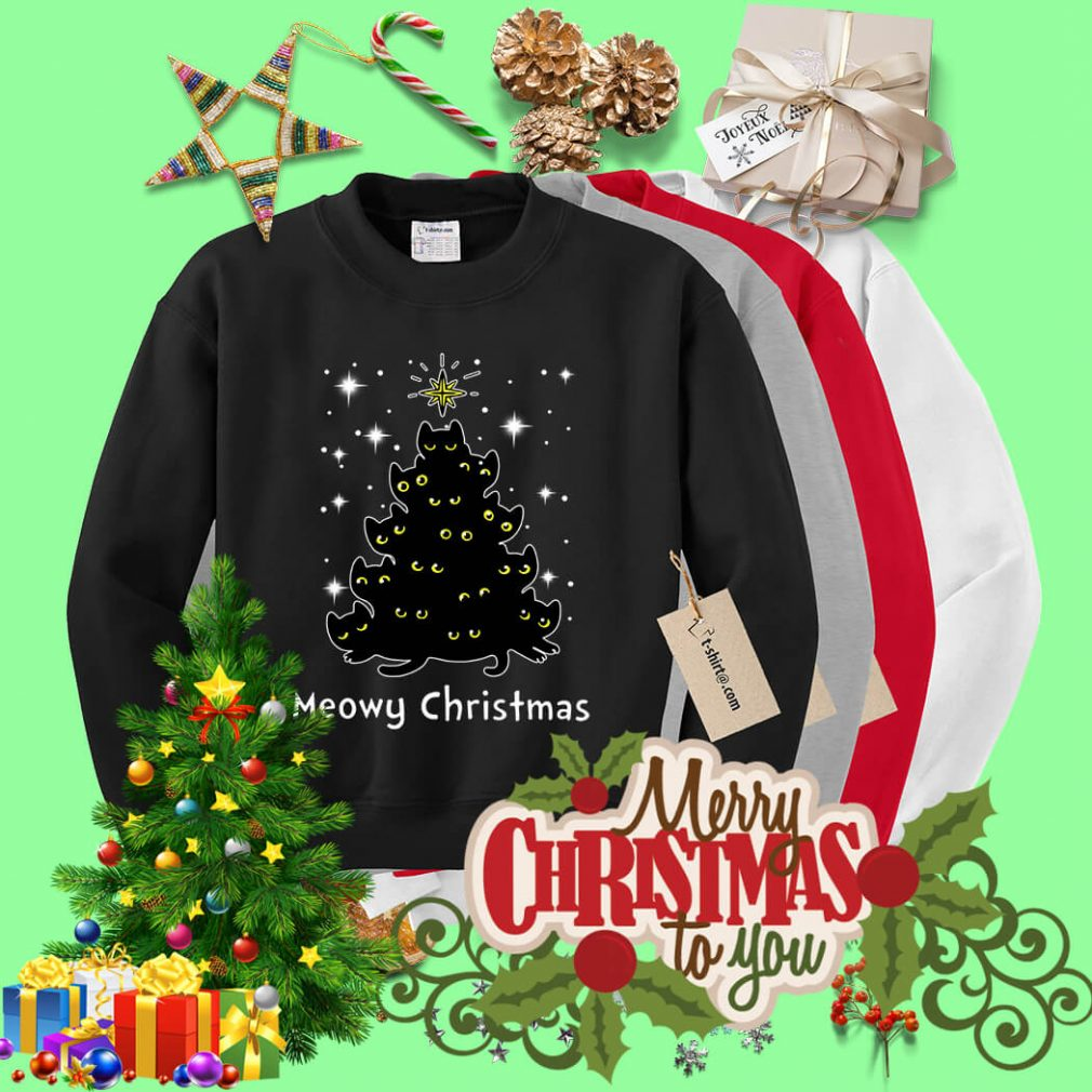 Christmas Black cat Meowy Christmas tree shirt, sweater