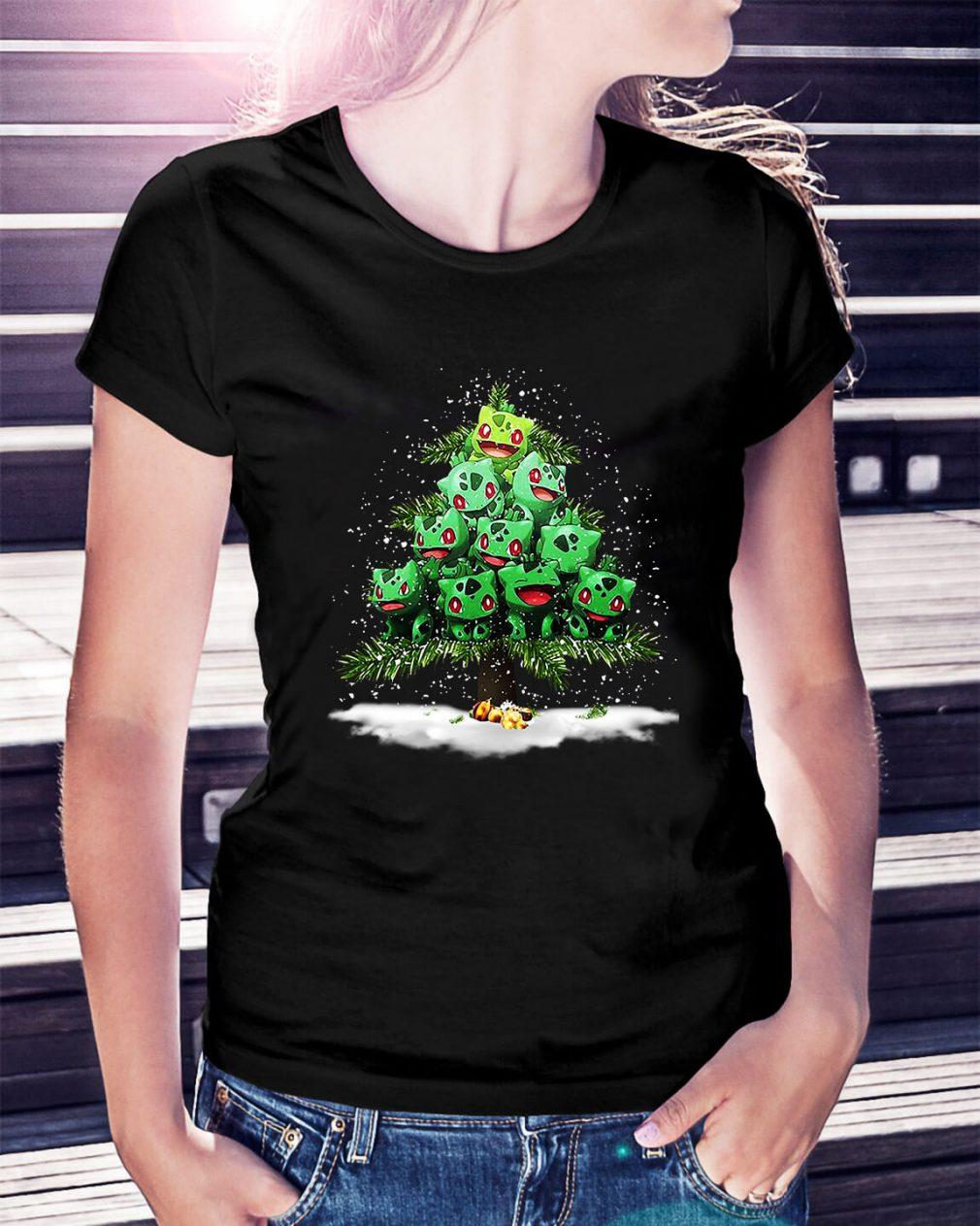Christmas Bulbasaur Pokemon Christmas tree Ladies Tee
