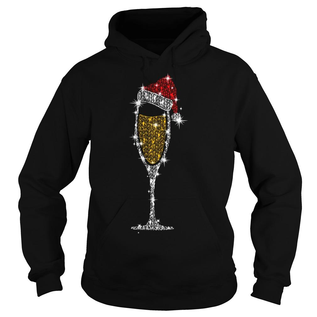 Christmas champagne wine glass Santa hat diamond Hoodie