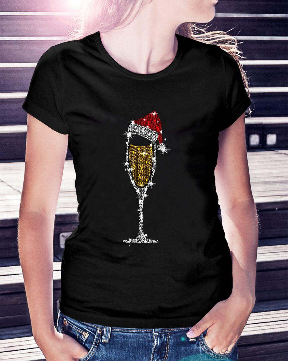 Christmas champagne wine glass Santa hat diamond Ladies Tee