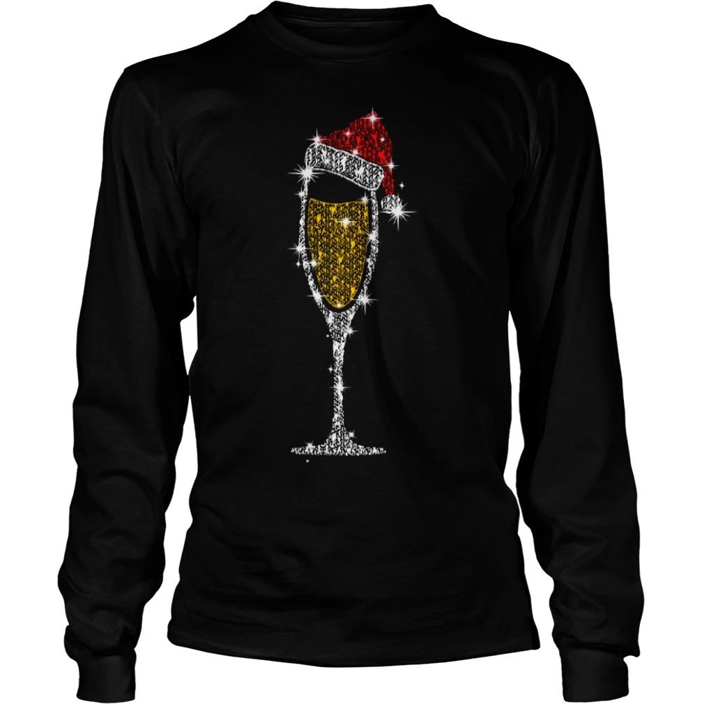 Christmas champagne wine glass Santa hat diamond Longsleeve Tee