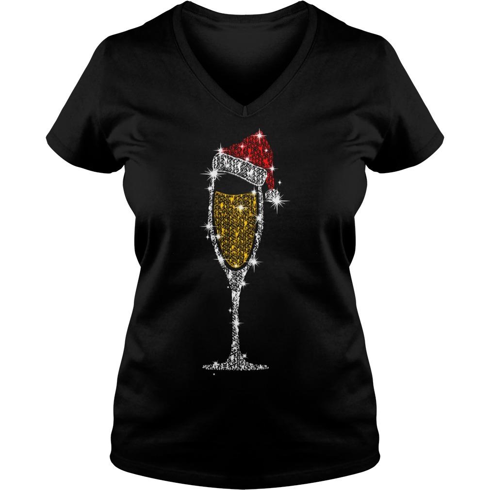 Christmas champagne wine glass Santa hat diamond V-neck T-shirt