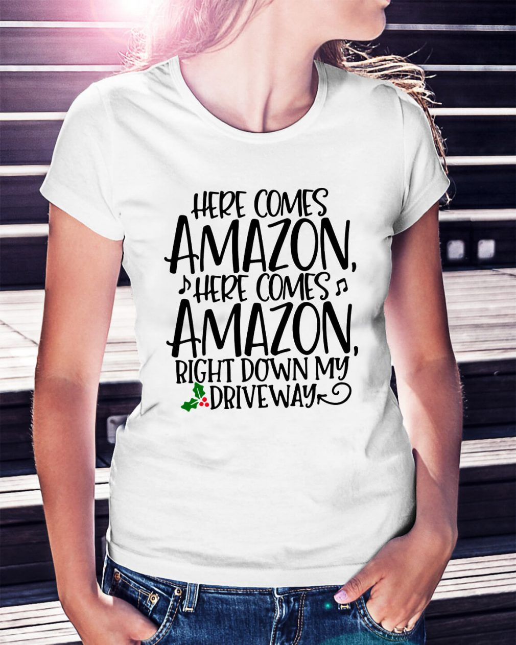 Christmas here comes Amazon right down my driveway Ladies Tee