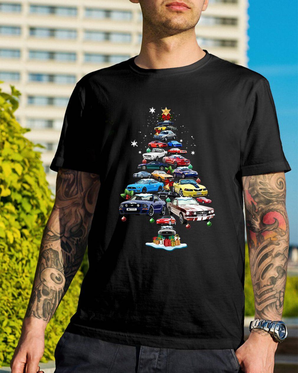 Christmas Corvette car Christmas tree Guys Shirt