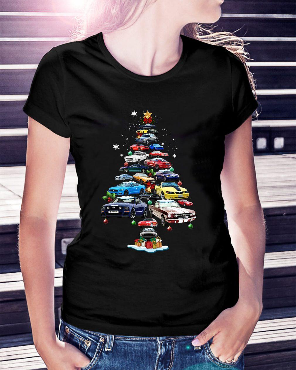 Christmas Corvette car Christmas tree Ladies Tee