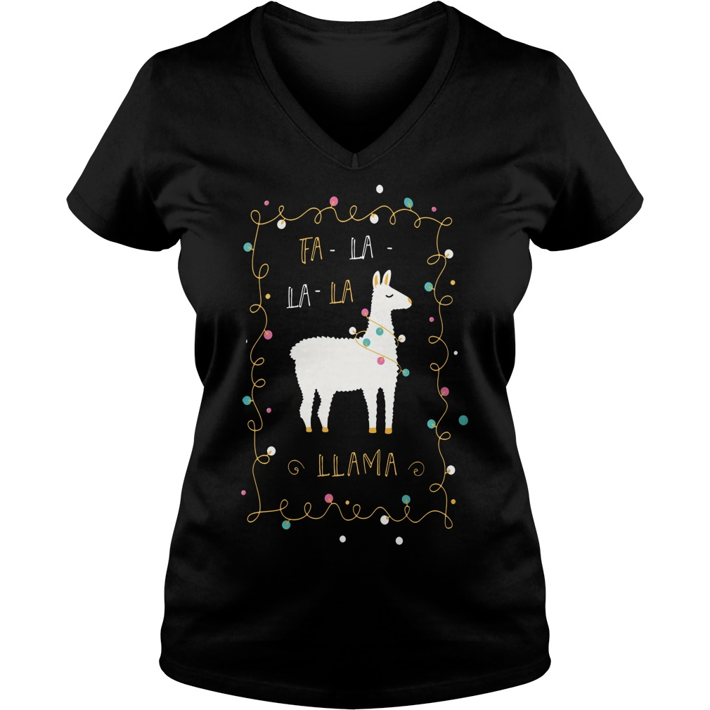 Christmas Fa-la la-la Llama V-neck T-shirt