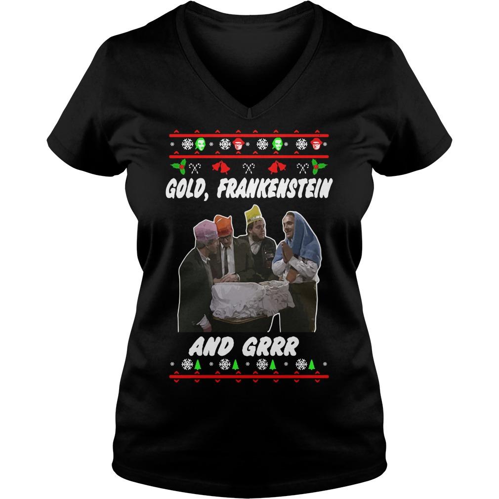 Christmas Gold Frankenstein and grrr V-neck T-shirt