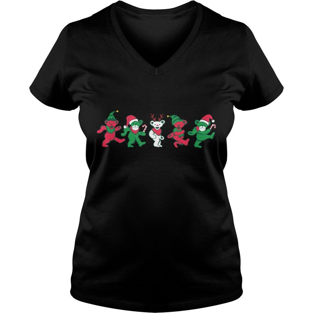 Christmas grateful dead dancing bears V-neck T-shirt