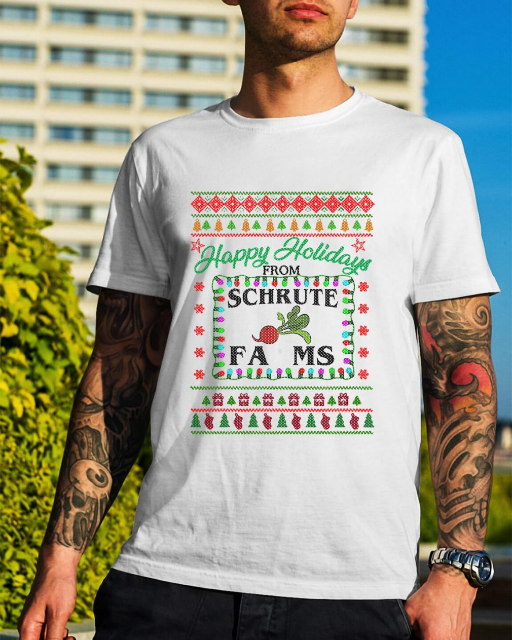 Christmas happy holidays from Schrute farms Guys Shirt
