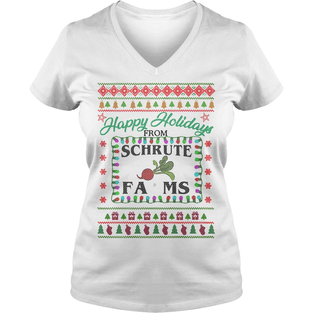 Christmas happy holidays from Schrute farms V-neck T-shirt