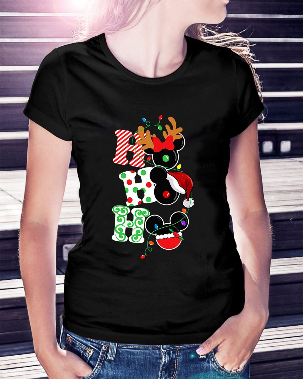 Christmas Ho Ho Ho Santa Reindeer and Mickey Ladies Tee
