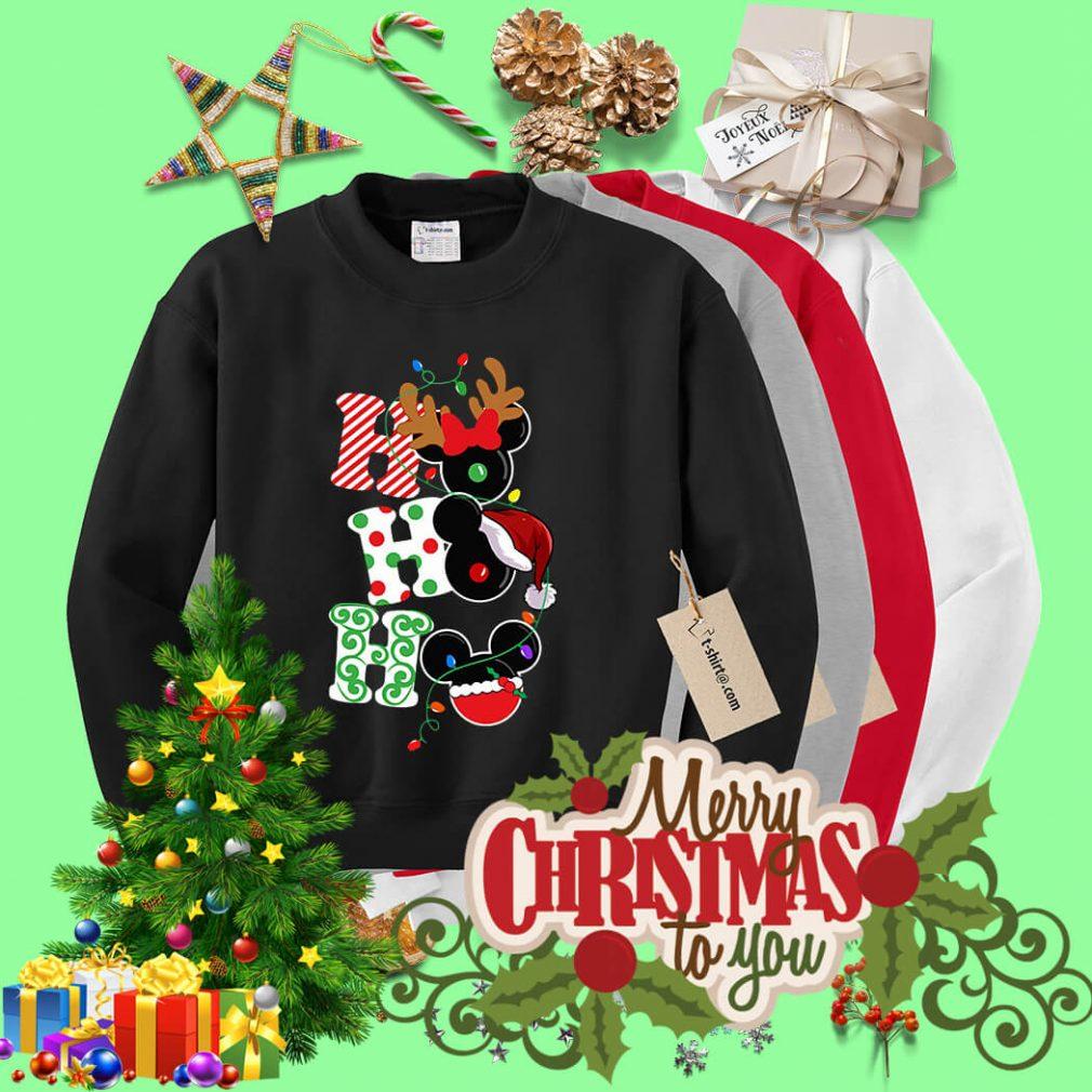 Christmas Ho Ho Ho Santa Reindeer and Mickey shirt, sweater