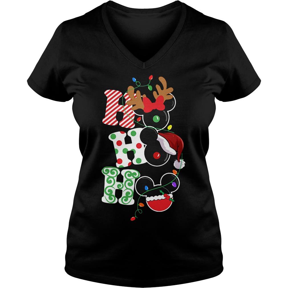 Christmas Ho Ho Ho Santa Reindeer and Mickey V-neck T-shirt