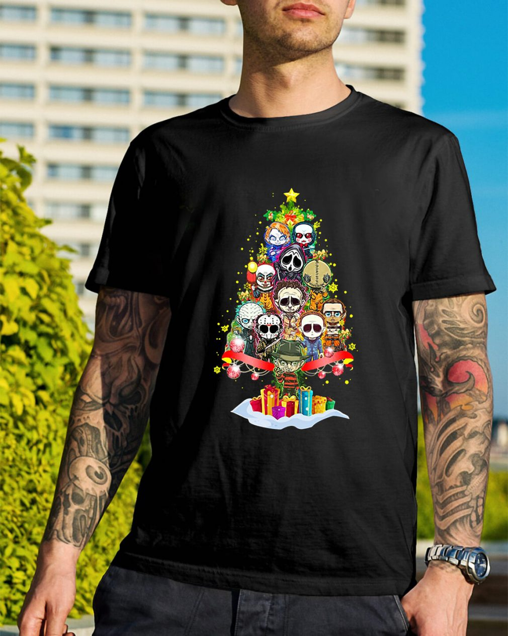 Christmas Horror chibi Christmas tree Guys Shirt