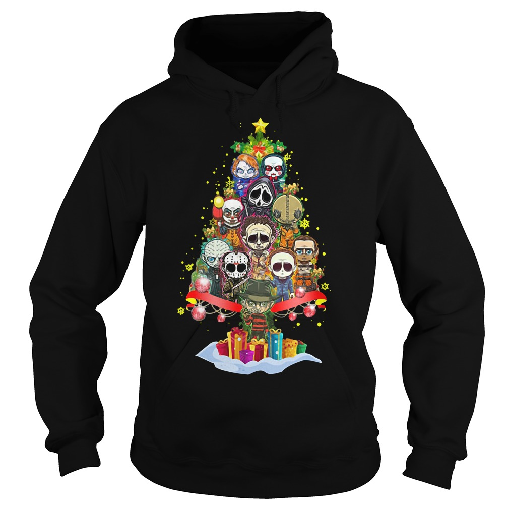 Christmas Freddy Krueger & Jason Christmas tree Hoodie, sweater and Ladies Tee