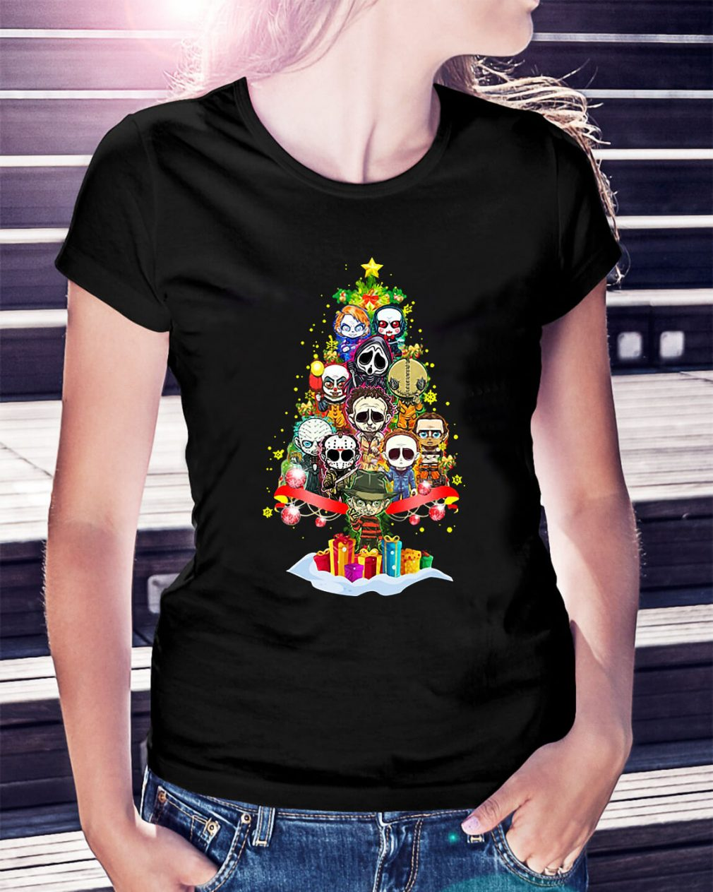 Christmas Horror chibi Christmas tree Ladies Tee