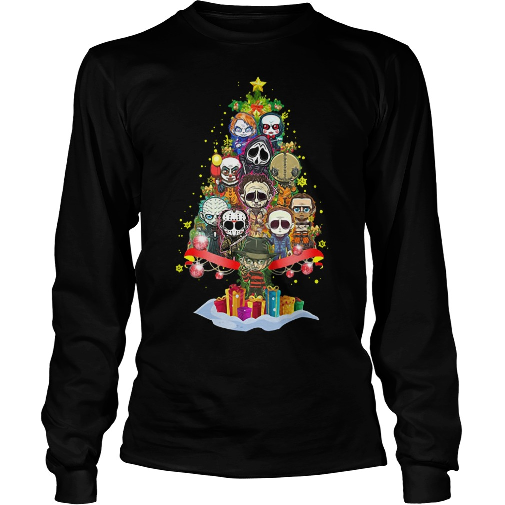 Horror Characters Christmas Tree Unisex Longsleeve Tee, Hoodie and V-neck T-shirt