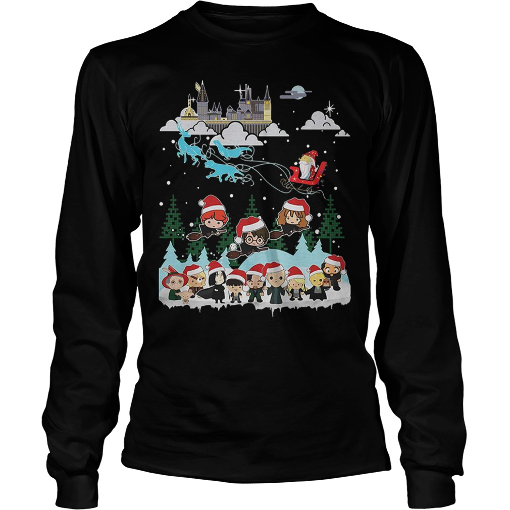 Christmas In Hogwarts Chibi Harry Potter Version Longsleeve Tee