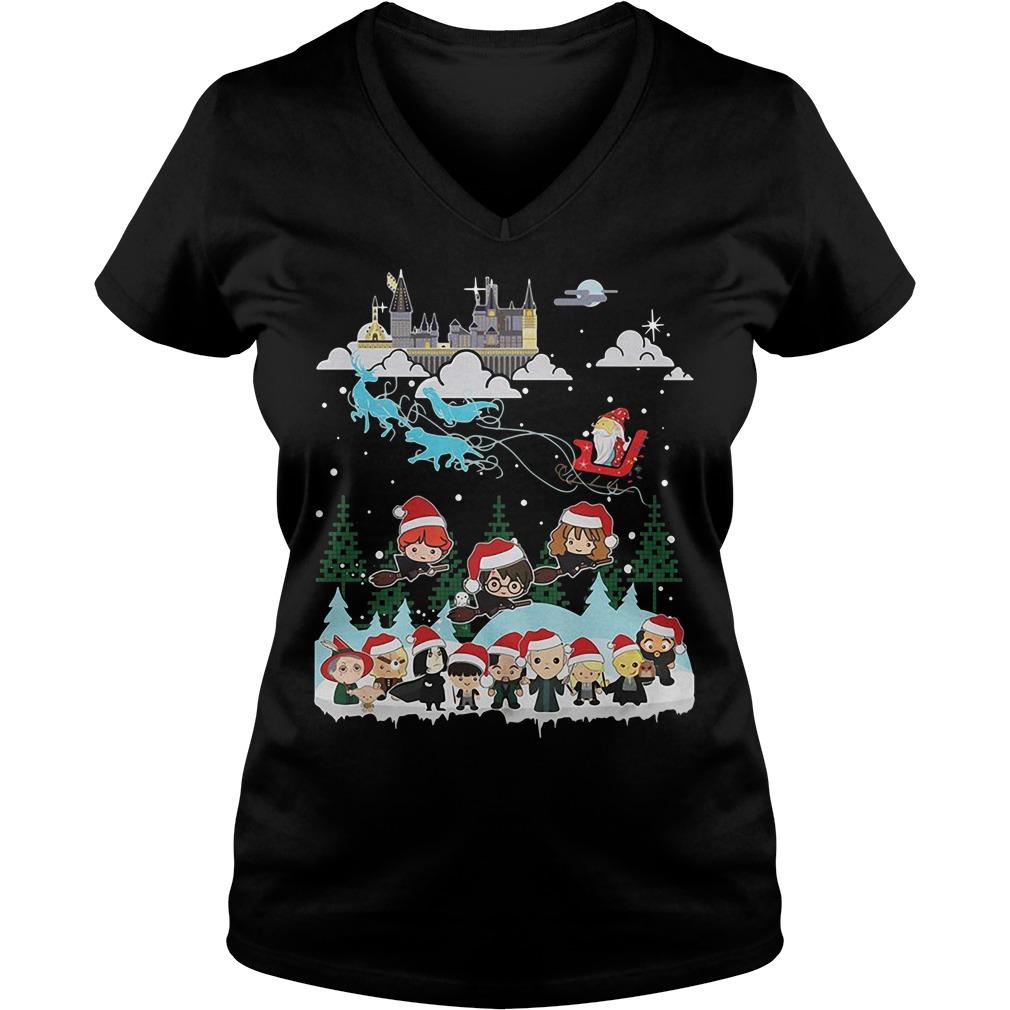 Christmas In Hogwarts Chibi Harry Potter Version V-neck T-shirt