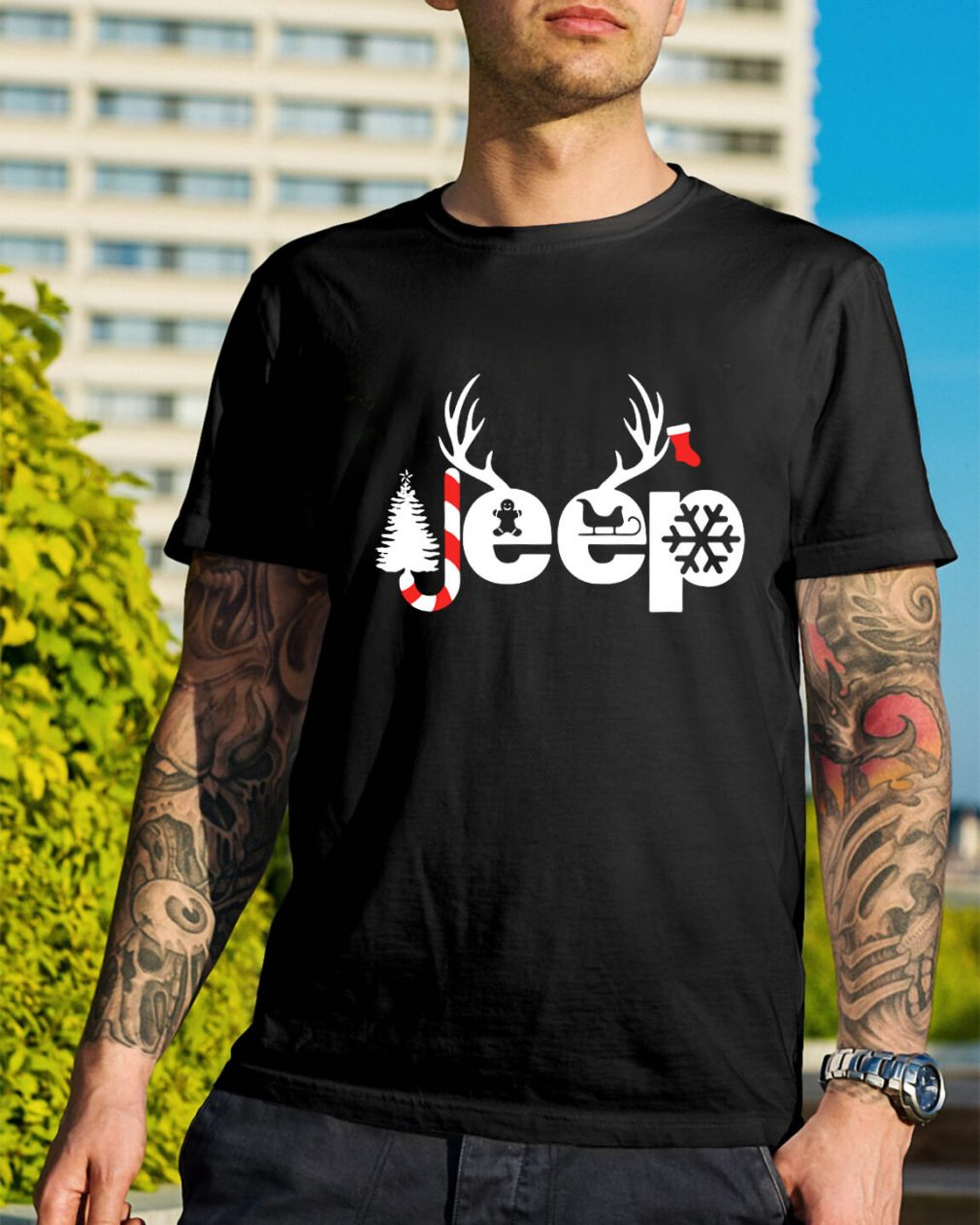 Christmas Jeep Xmas snow candy Reindeer Christmas tree Guys Shirt