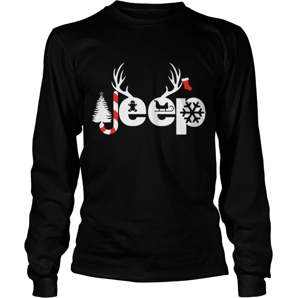 Christmas Jeep Xmas snow candy Reindeer Christmas tree Longsleeve Tee