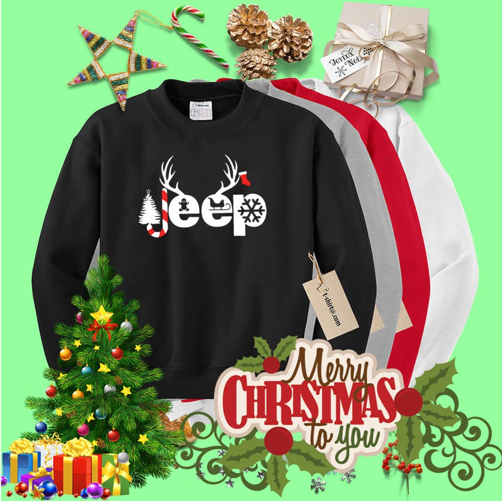 Christmas Jeep Xmas snow candy Reindeer Christmas tree shirt, sweater