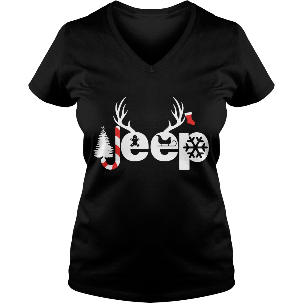 Christmas Jeep Xmas snow candy Reindeer Christmas tree V-neck T-shirt