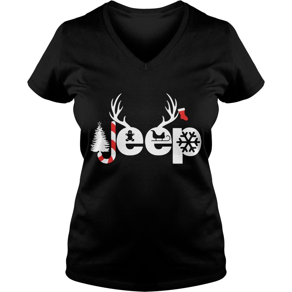 Christmas Jeep Xmas snow candy Reindeer Christmas tree V-neck T-shirt