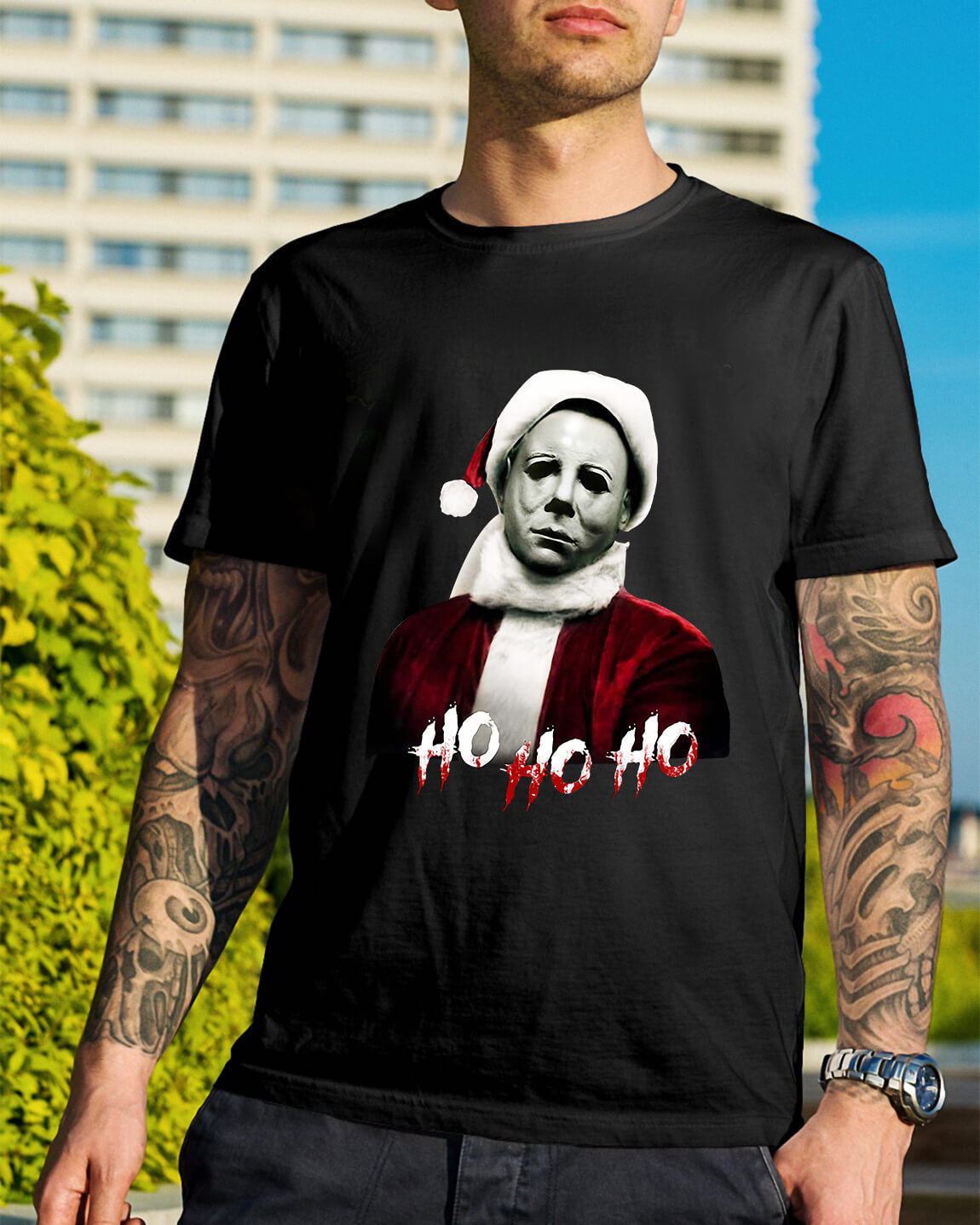 Christmas Michael Myers Santa Hat Ho Ho Ho Shirt Sweater Hoodie