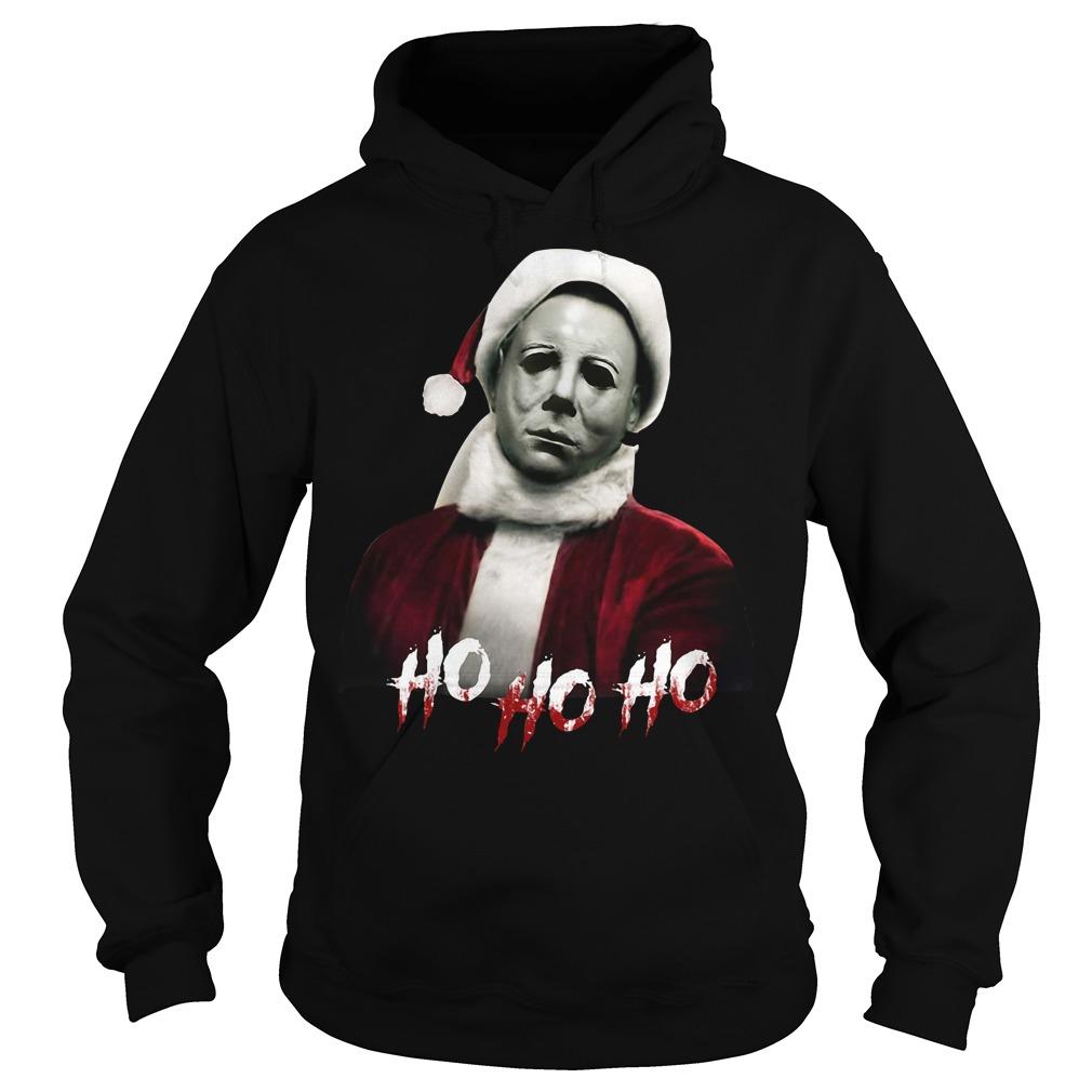 Christmas Michael Myers Santa hat ho ho ho Hoodie