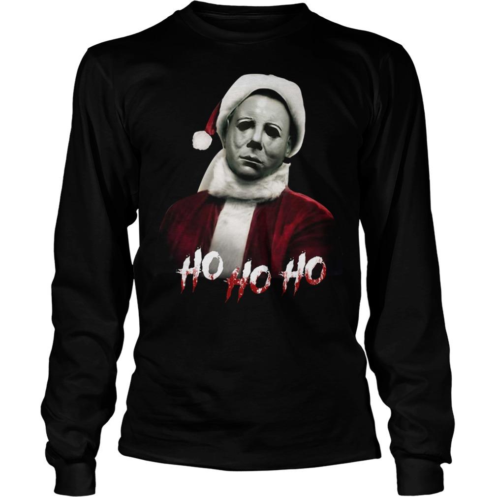 Christmas Michael Myers Santa hat ho ho ho Longsleeve Tee