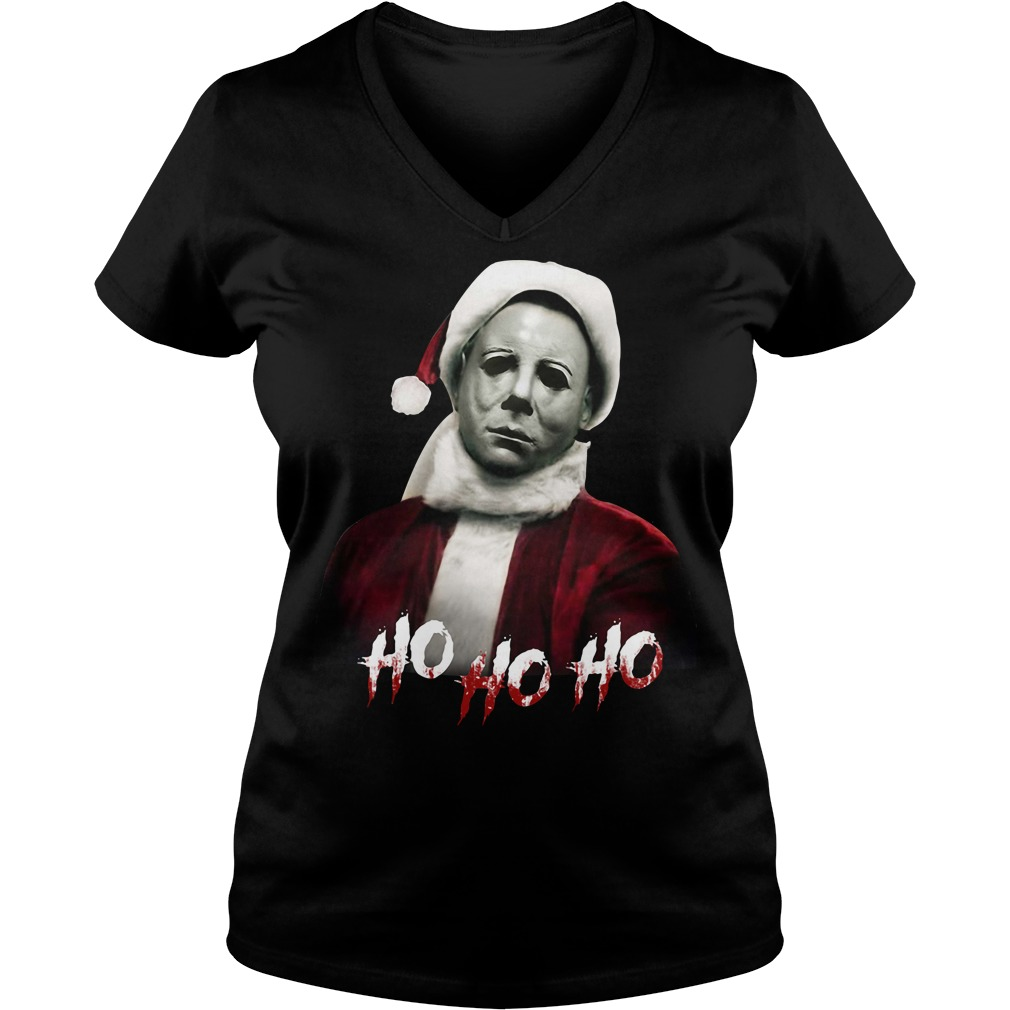 Christmas Michael Myers Santa hat ho ho ho V-neck T-shirt