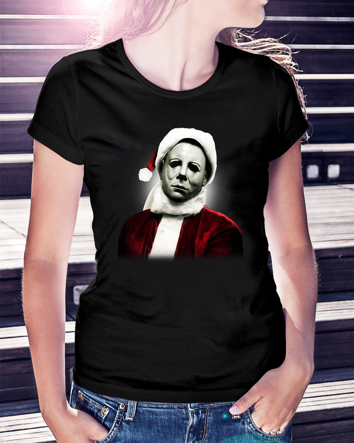 Christmas Michael Myers Santa Hat Shirt Sweater Hoodie
