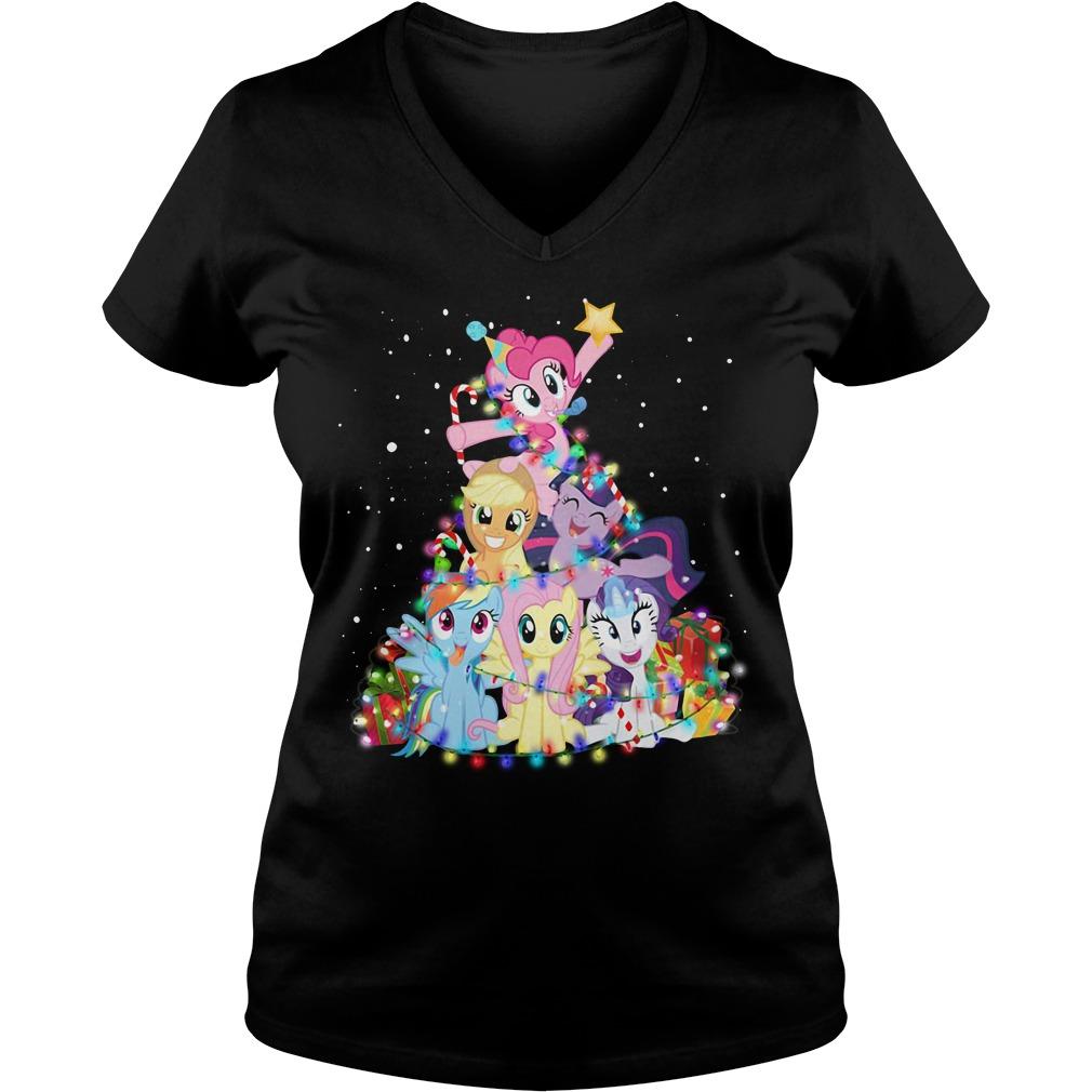Christmas My Little Pony Christmas tree V-neck T-shirt