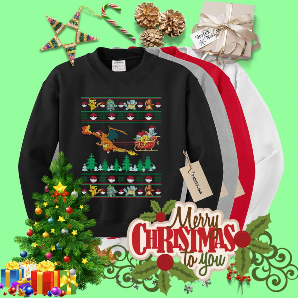 Christmas Pokemon Pikachu Fushigidane Squirtle Hitokage shirt, sweater