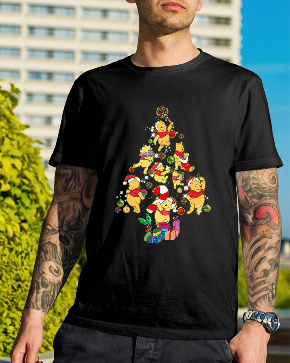 Christmas Pooh Christmas tree Guys Shirt
