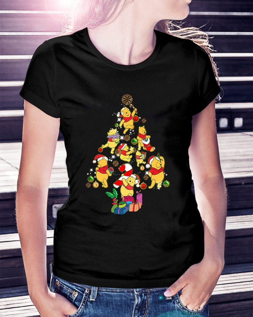 Christmas Pooh Christmas tree Ladies Tee