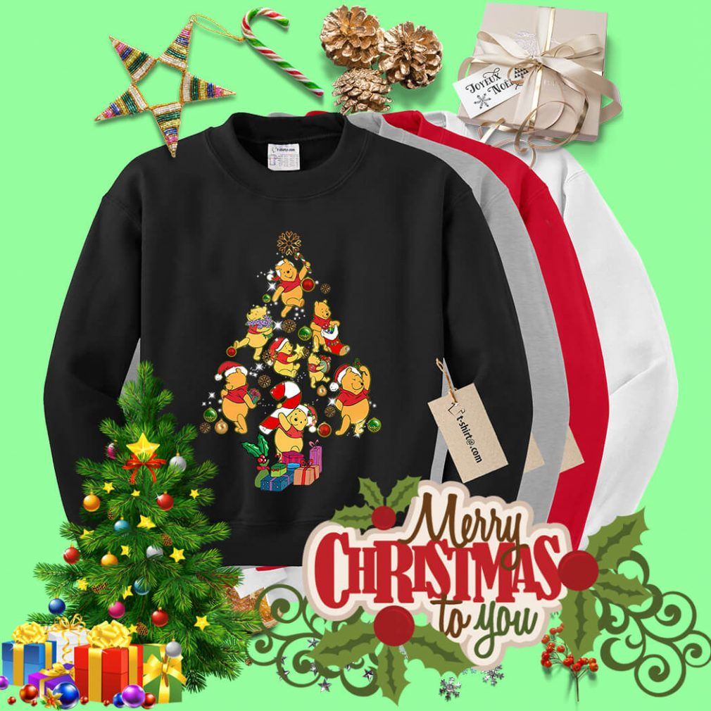 Christmas Pooh Christmas tree shirt, sweater