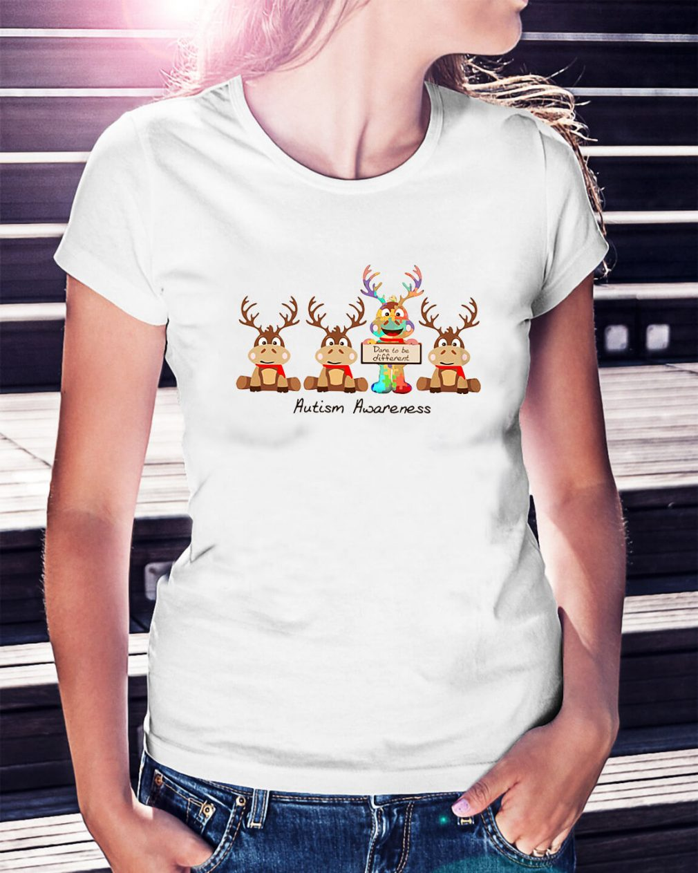 Christmas Reindeer autism awareness Ladies Tee