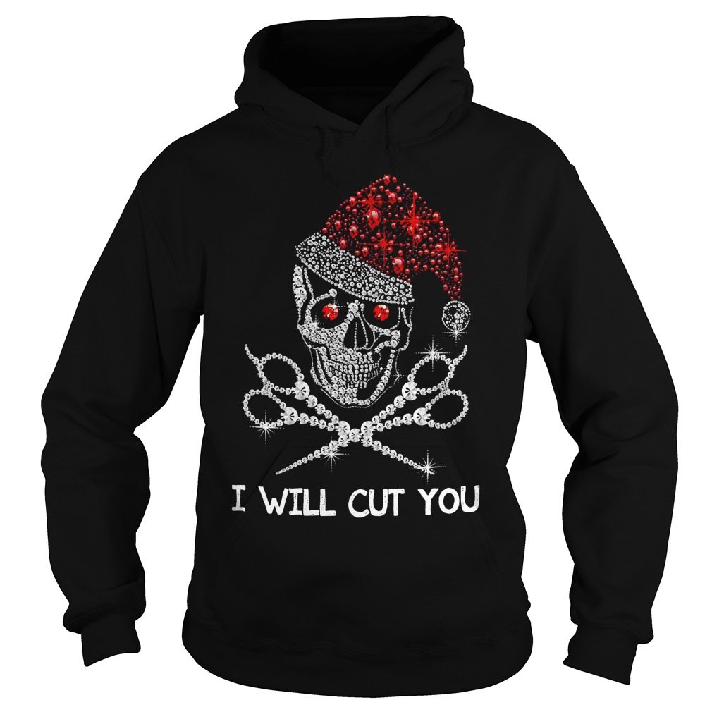 Christmas Skeleton Rhinestone Santa hat I will cut you Hoodie